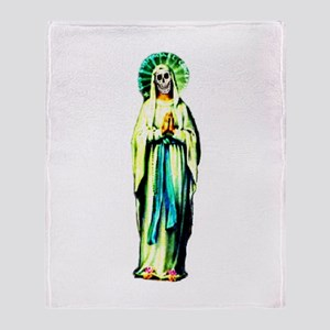 Praying Santa Muerte Throw Blanket