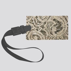 cream sequins lace bohemian Large Luggage Tag