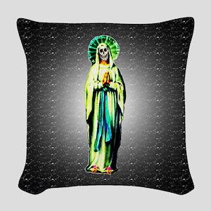 Cult of Santa Muerte Woven Throw Pillow