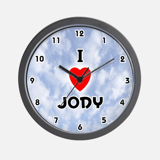 I Love Jody (Black) Valentine Wall Clock