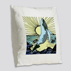 Morning sun whale Burlap Throw Pillow