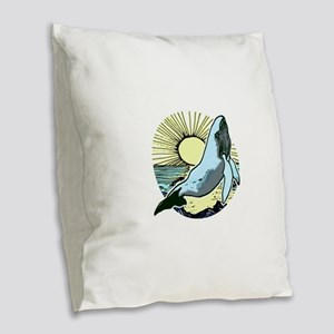 Morning sun whale 2 Burlap Throw Pillow
