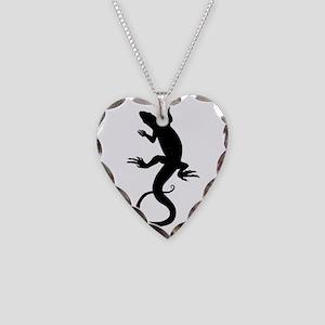 Lizard Art Necklace Heart Charm