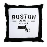 Boston Cannabis Throw Pillow