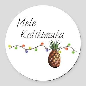 Mele Kalikimaka - Hawaiian Christ Round Car Magnet