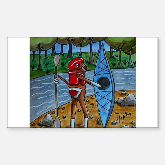 Kayak Sock Monkey Rectangle Decal