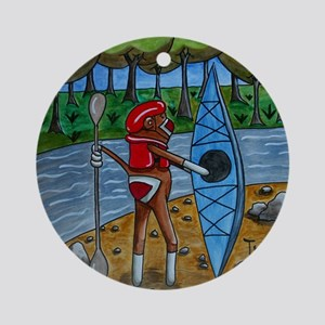 Kayak Sock Monkey Ornament (Round)
