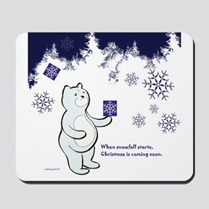 Bear receives a gift in Christmas Mousepad