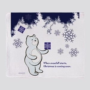 Bear receives a gift in Christmas Throw Blanket