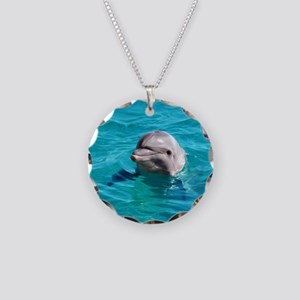 Dolphin Blue Water Necklace Circle Charm