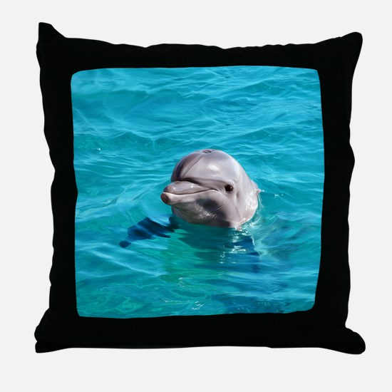 Dolphin Blue Water Throw Pillow