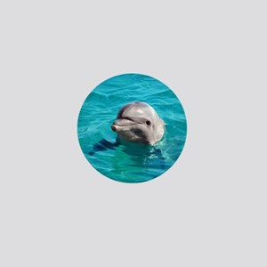 Dolphin Blue Water Mini Button