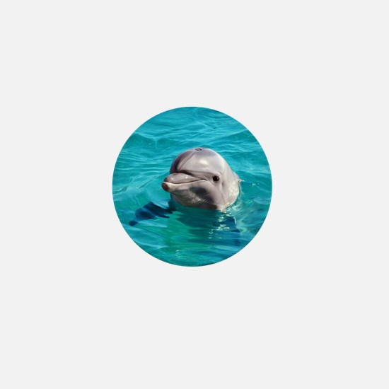 Dolphin Blue Water Mini Button