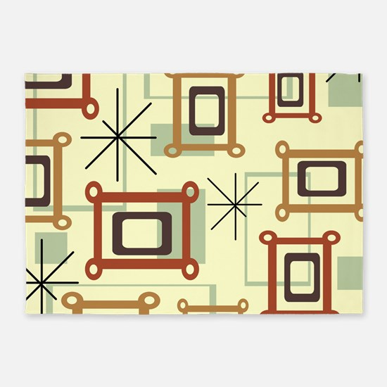 1950s Abstract Pop Art 5'x7'Area Rug