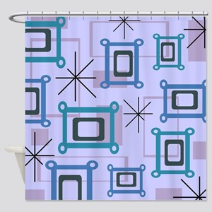 1950s Abstract Pop Art Shower Curtain