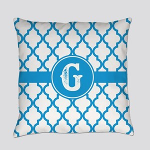 Blue Monogram: Letter G Everyday Pillow