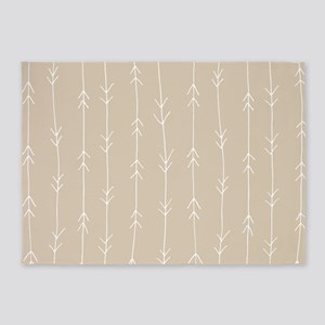 Brown, Beige: Arrows Pattern 5'x7'Area Rug