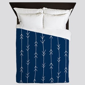 Blue, Navy: Arrow Pattern Queen Duvet