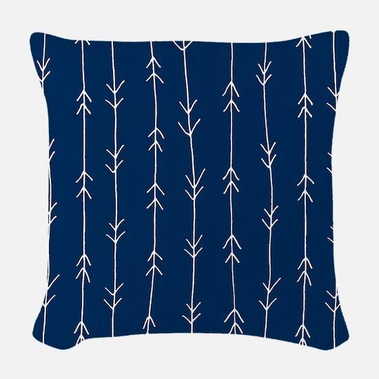 Blue, Navy: Arrow Pattern Woven Throw Pillow