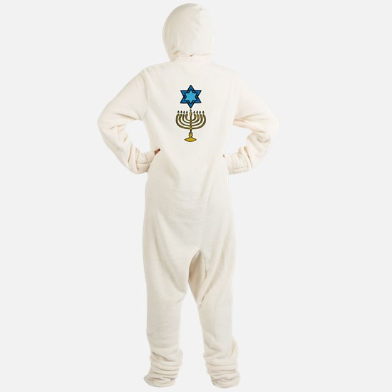 Gold Menorah Blue Jewish Star Footed Pajamas