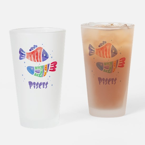 Pisces Astrology Fish Watercolor ar Drinking Glass