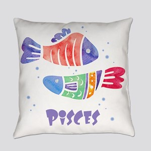 Pisces Astrology Fish Watercolor a Everyday Pillow