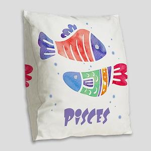 Pisces Astrology Fish Watercol Burlap Throw Pillow