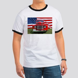 1948 Red Ford Truck USA Flag T-Shirt