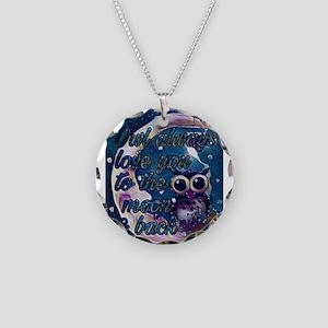Owl always love u moon & bac Necklace Circle Charm