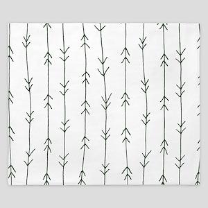 Green, Pine: Arrows Pattern King Duvet