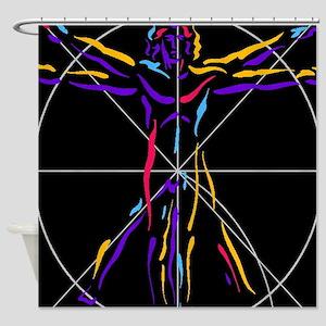 Vitruvian man da vinci drawing Shower Curtain