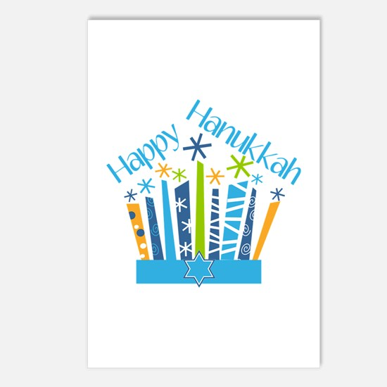Happy Hanukkah Candles Postcards (Package of 8)