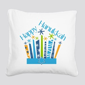 Happy Hanukkah Candles Square Canvas Pillow