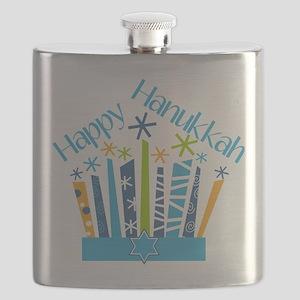 Happy Hanukkah Candles Flask