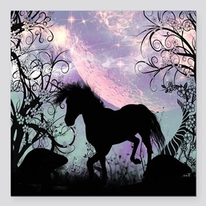 Wonderful unicorn in the sunset Square Car Magnet