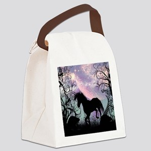 Wonderful unicorn in the sunset Canvas Lunch Bag