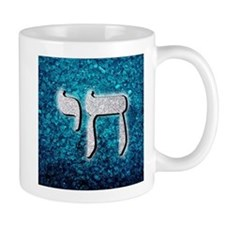 Silver & Blue Glitter Chai Symbol Mugs