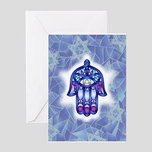 Blue & Lavender Hamsa Hand Symbol Greeting Cards