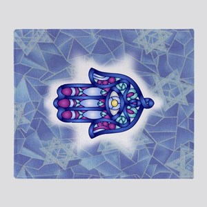 Blue & Lavender Hamsa Hand Symbol Throw Blanket