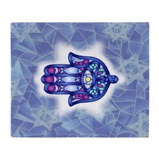 Blue & Lavender Hamsa Hand Symbol Throw Blanket