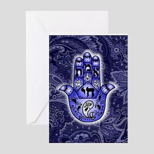 Blue Paisley Hamsa Hand Symbol Greeting Cards