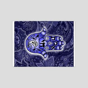 Blue Paisley Hamsa Hand Symbol 5'x7'Area Rug