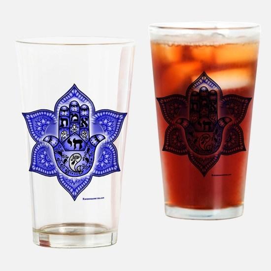 Blue Paisley Hamsa Hand Symbol Drinking Glass