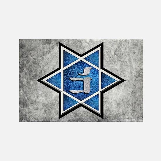 Blue Glitter Grunge Star of David Magnets