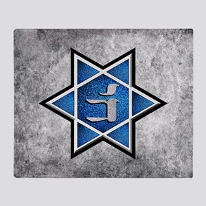 Blue Glitter Grunge Star of David Throw Blanket