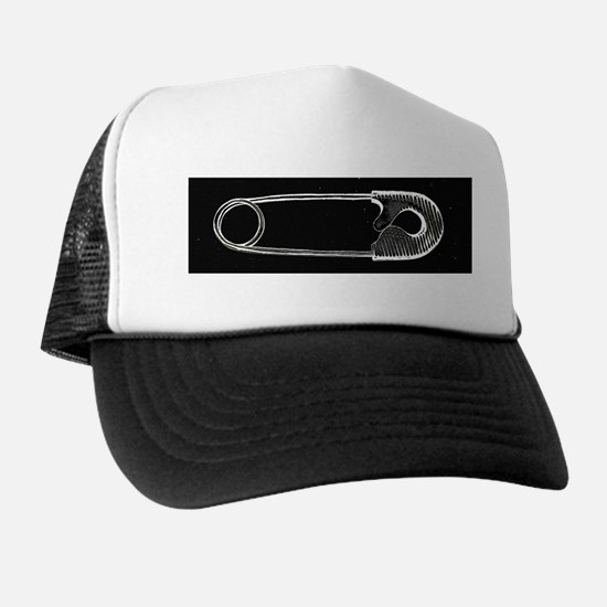 Safety Pin Woodcut Trucker Hat