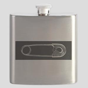 Safety Pin Woodcut Flask