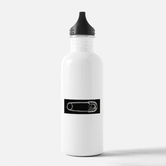 Safety Pin Woodcut Water Bottle