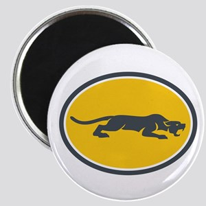 Black Panther Prowling Oval Retro Magnets