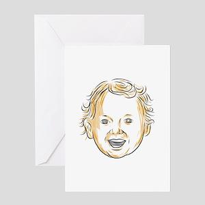Caucasian Toddler Smiling Drawing Greeting Cards